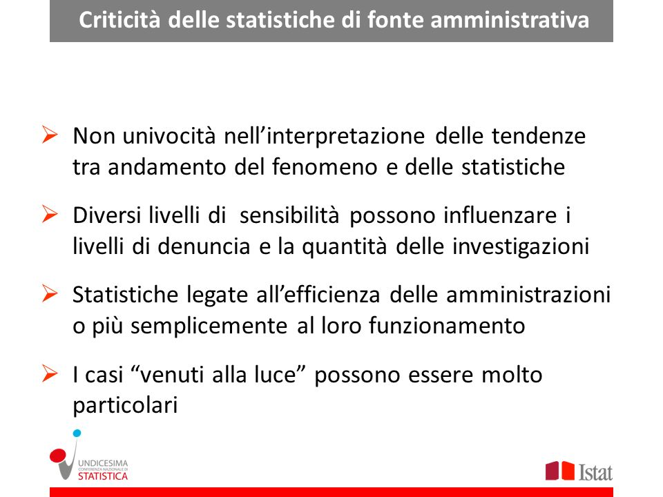 Criticità delle statistiche di fonte amministrativa