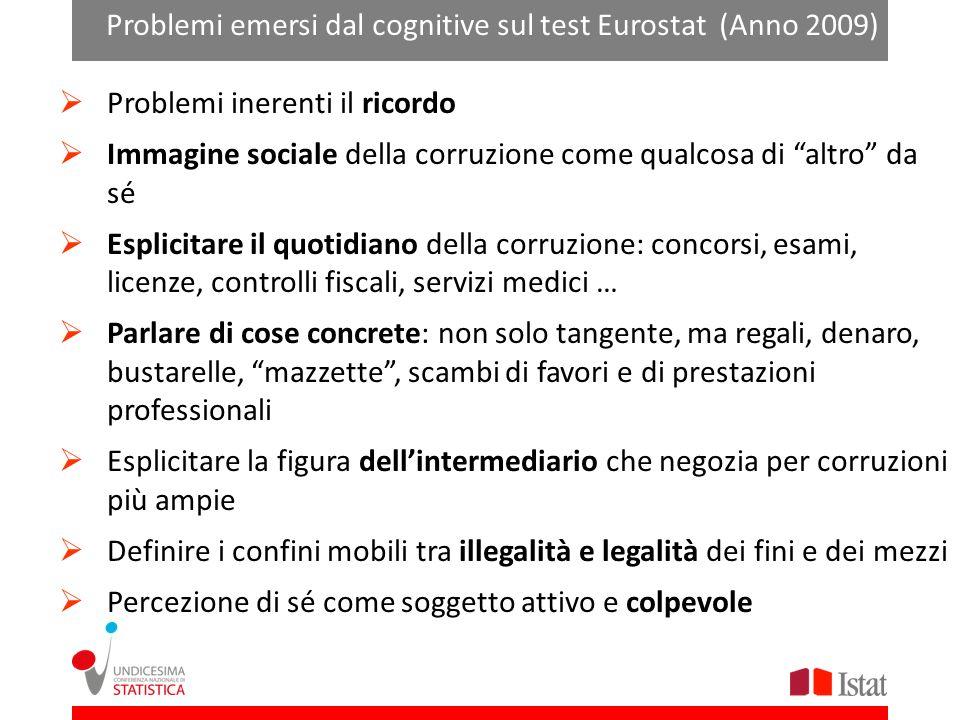 Problemi emersi dal cognitive sul test Eurostat (Anno 2009)