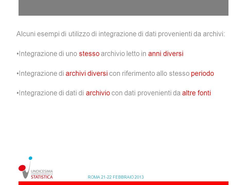 Alcuni esempi di utilizzo di integrazione di dati provenienti da archivi:
