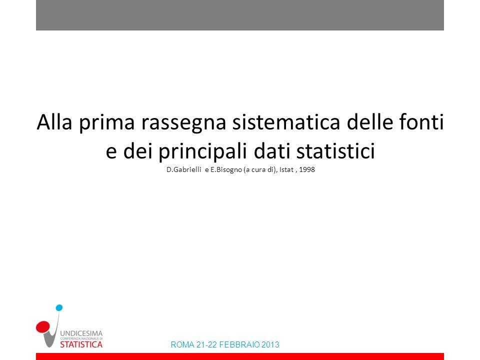 Alla prima rassegna sistematica delle fonti e dei principali dati statistici D.Gabrielli e E.Bisogno (a cura di), Istat , 1998