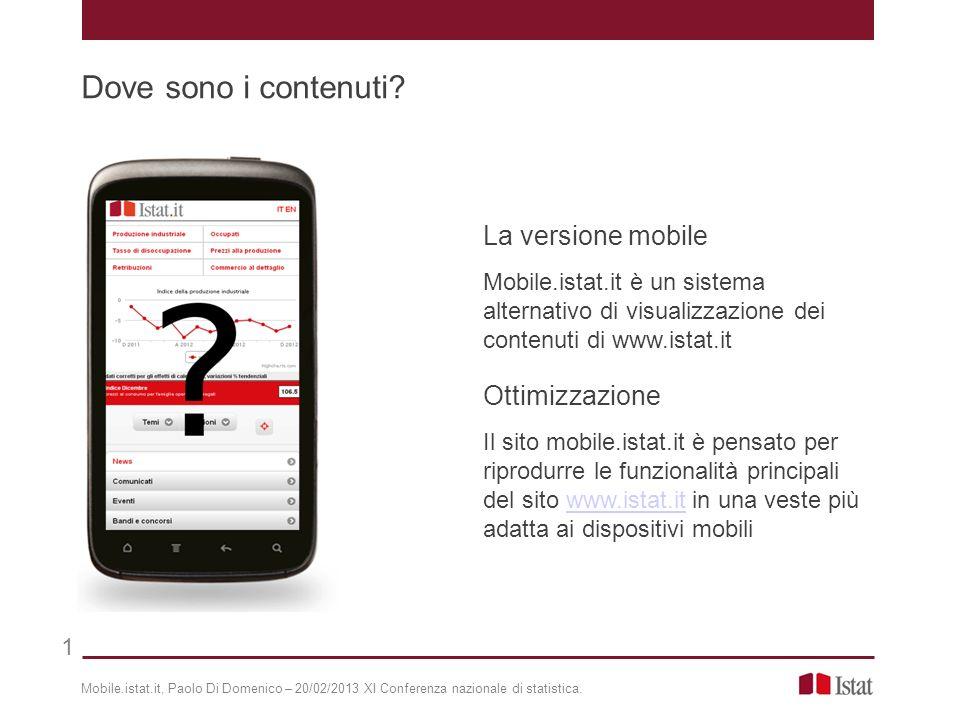 Dove sono i contenuti La versione mobile Ottimizzazione