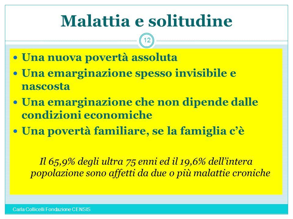 Malattia e solitudine Una nuova povertà assoluta