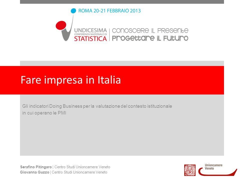 Fare impresa in Italia Gli indicatori Doing Business per la valutazione del contesto istituzionale.