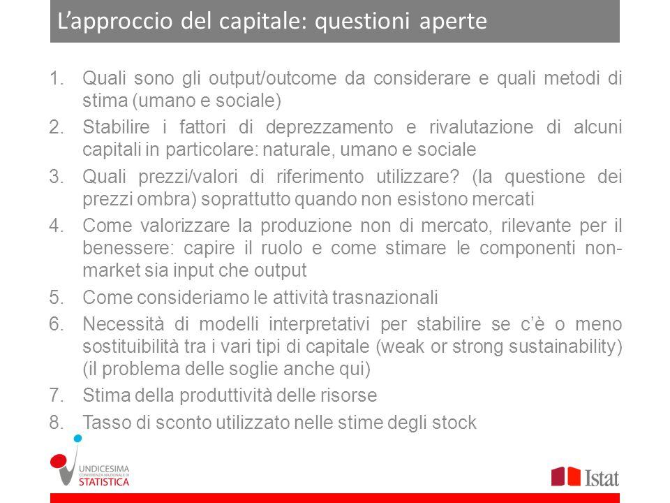 L'approccio del capitale: questioni aperte