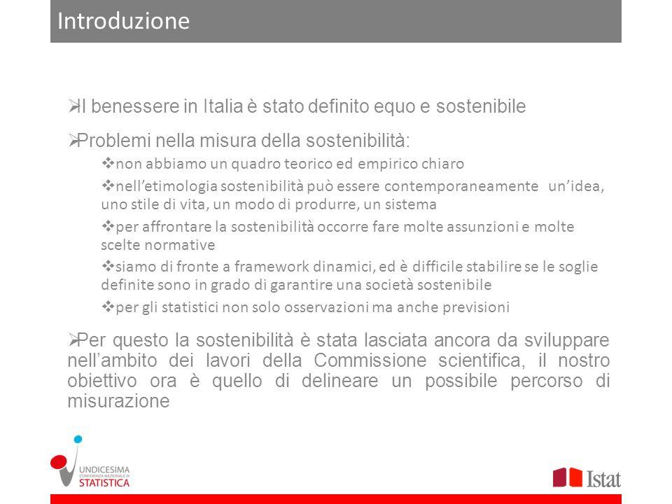 Introduzione Il benessere in Italia è stato definito equo e sostenibile. Problemi nella misura della sostenibilità: