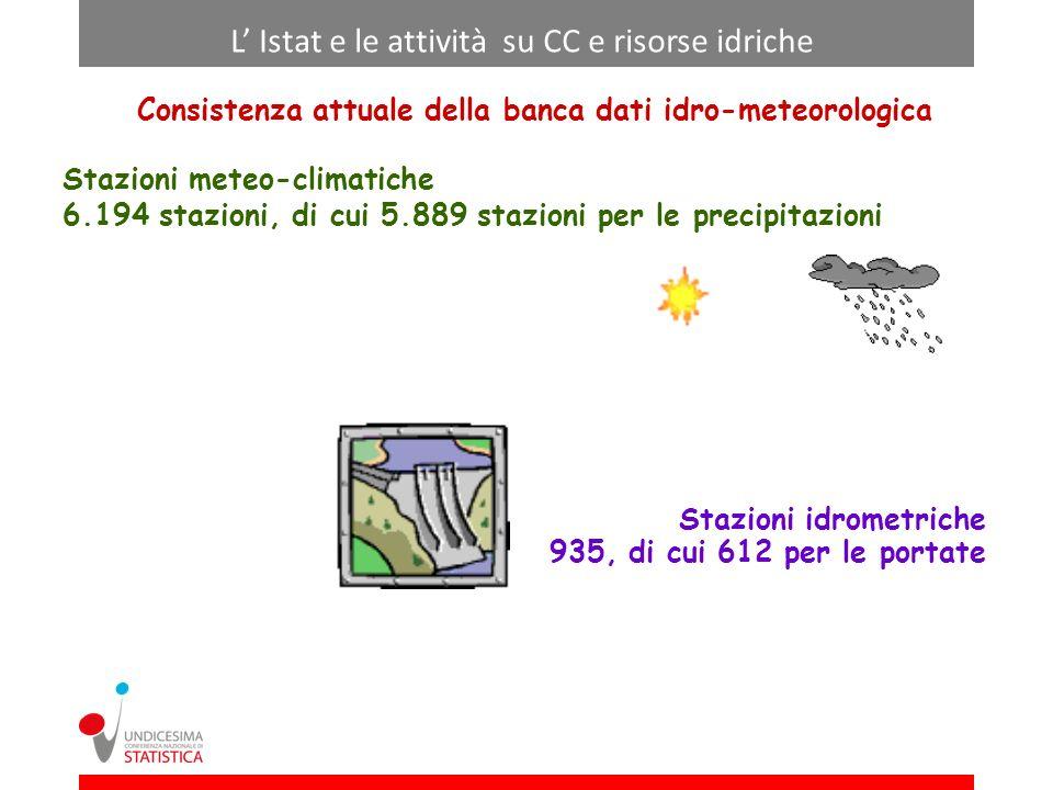 Consistenza attuale della banca dati idro-meteorologica