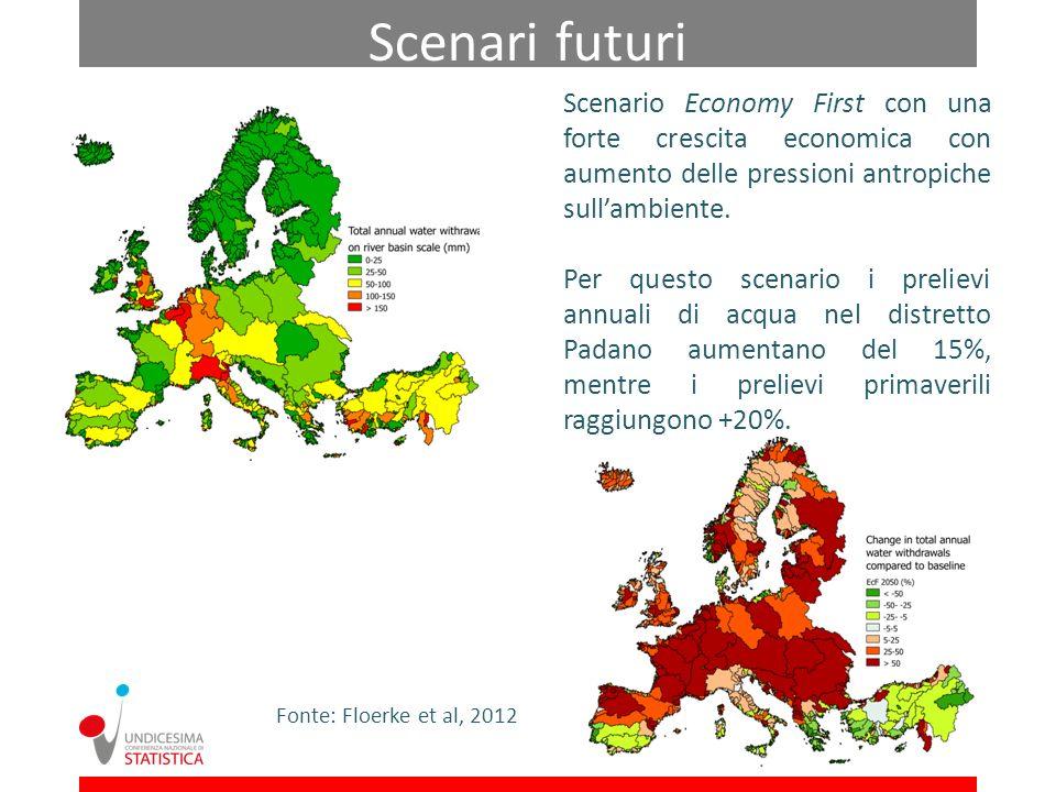 Scenari futuri Scenario Economy First con una forte crescita economica con aumento delle pressioni antropiche sull'ambiente.