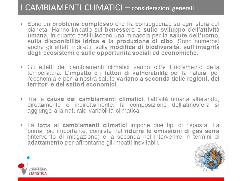 I CAMBIAMENTI CLIMATICI – considerazioni generali