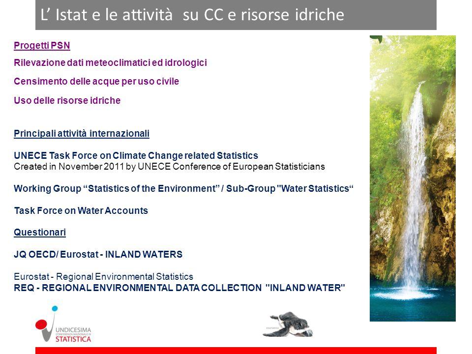 L' Istat e le attività su CC e risorse idriche