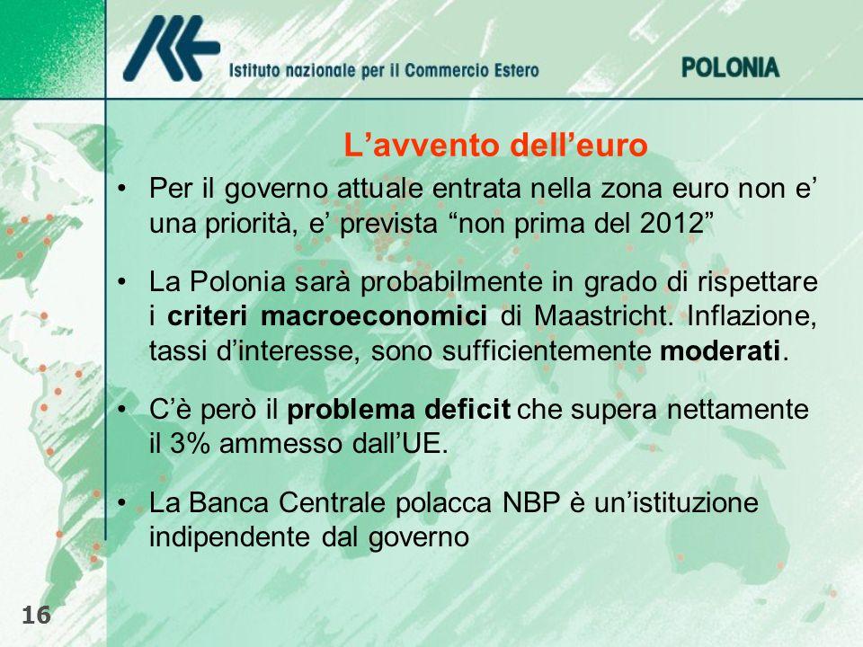 L'avvento dell'euro Per il governo attuale entrata nella zona euro non e' una priorità, e' prevista non prima del 2012