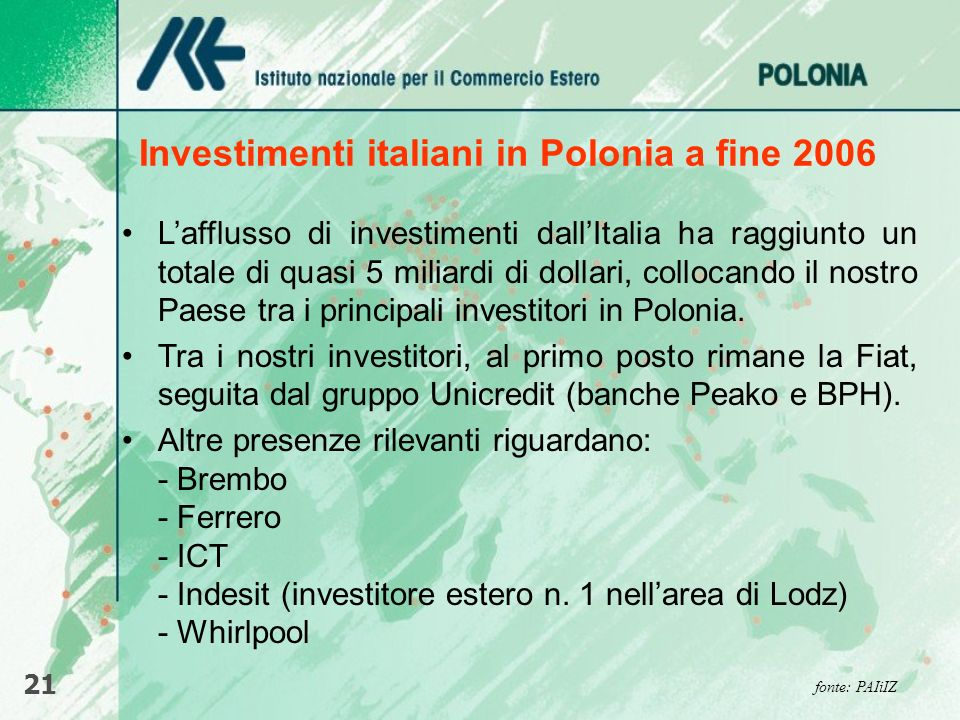 Investimenti italiani in Polonia a fine 2006