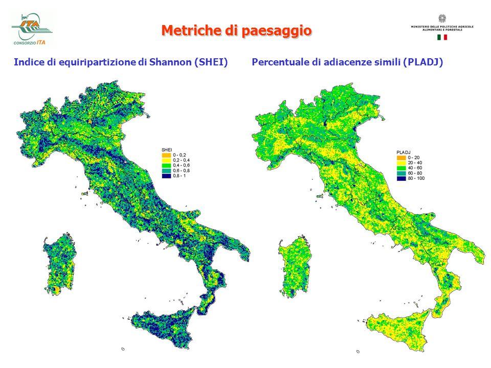 Metriche di paesaggio Indice di equiripartizione di Shannon (SHEI)