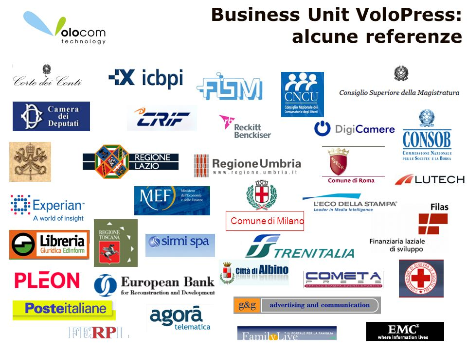 Business Unit VoloPress: alcune referenze