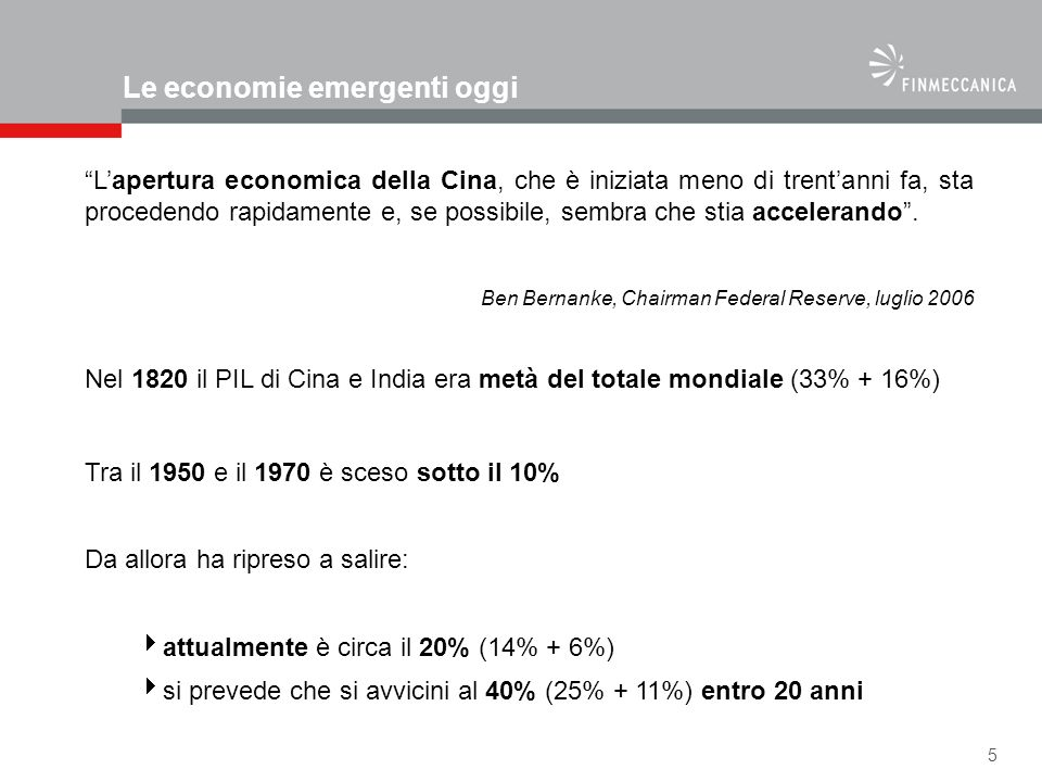 Le economie emergenti oggi