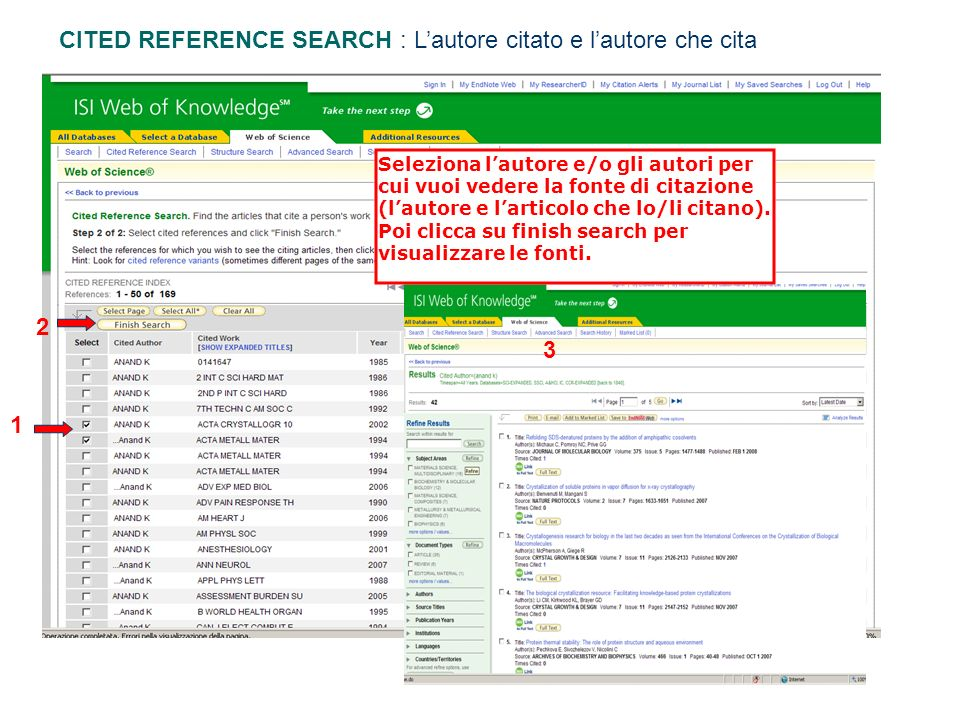 CITED REFERENCE SEARCH : L'autore citato e l'autore che cita