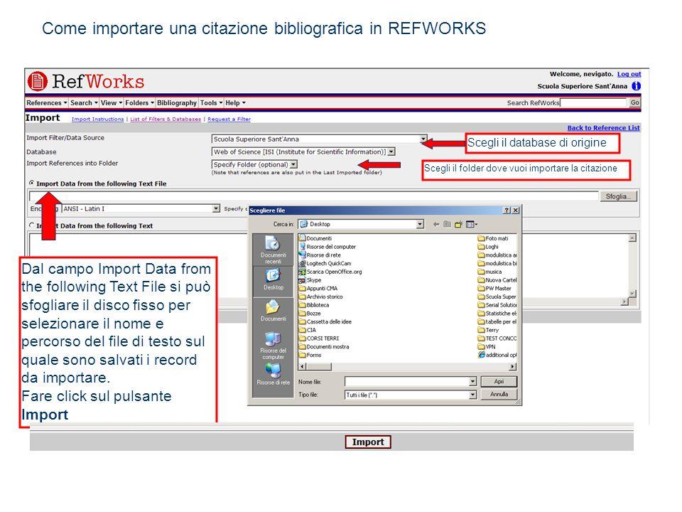 Come importare una citazione bibliografica in REFWORKS