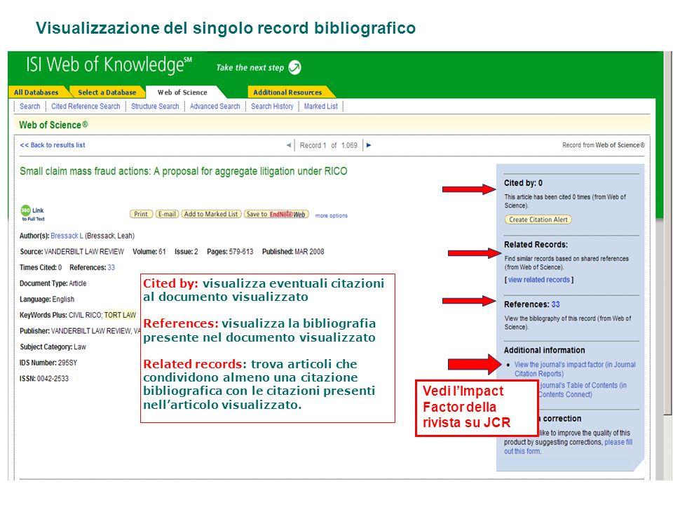 Visualizzazione del singolo record bibliografico
