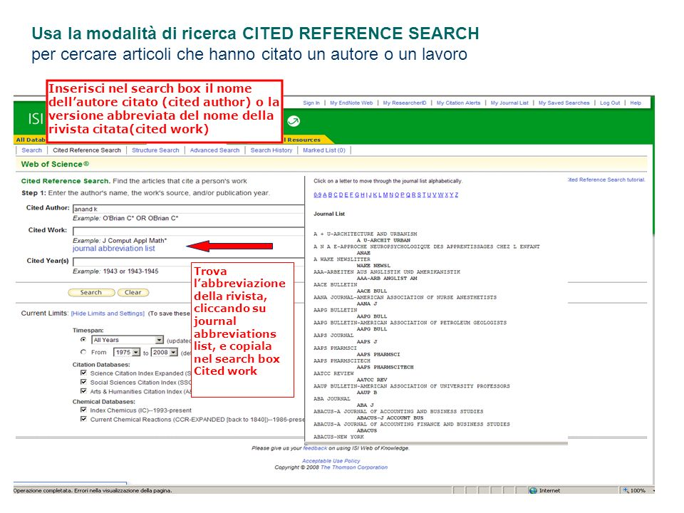 Usa la modalità di ricerca CITED REFERENCE SEARCH