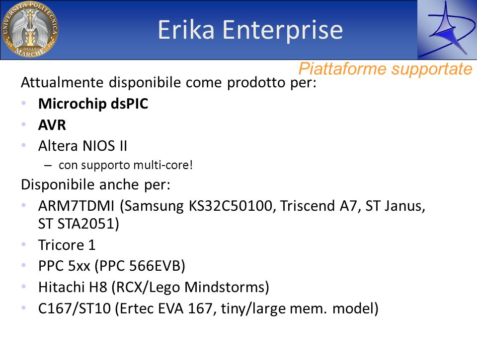 Erika Enterprise Piattaforme supportate