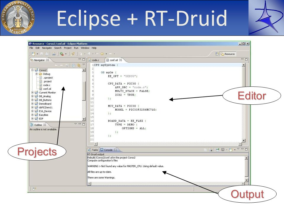 Eclipse + RT-Druid Editor Projects Output