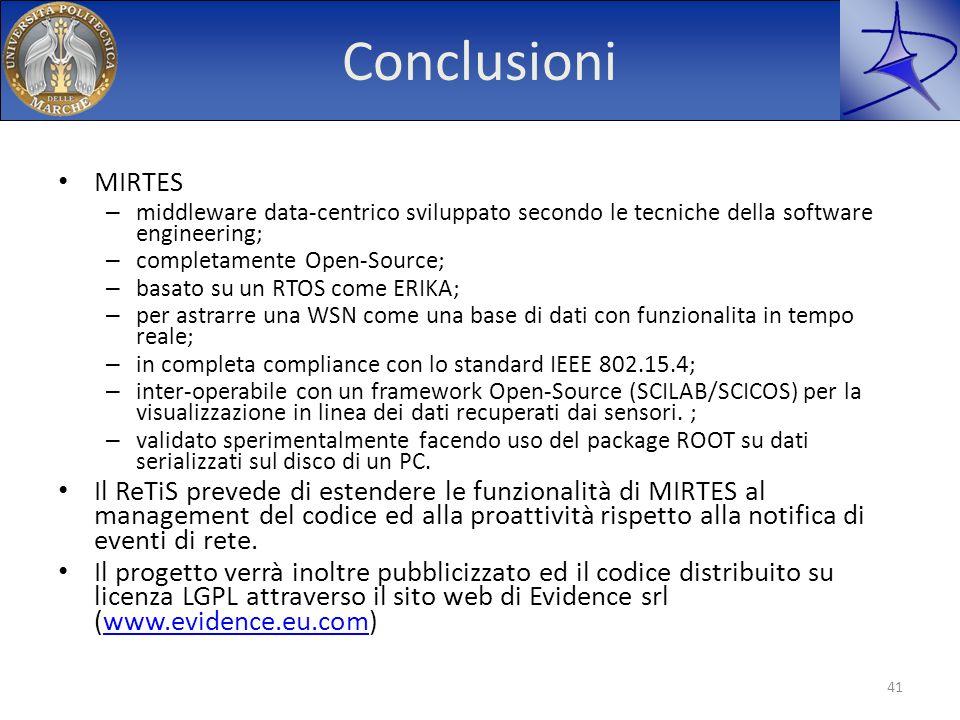 Conclusioni MIRTES. middleware data-centrico sviluppato secondo le tecniche della software engineering;