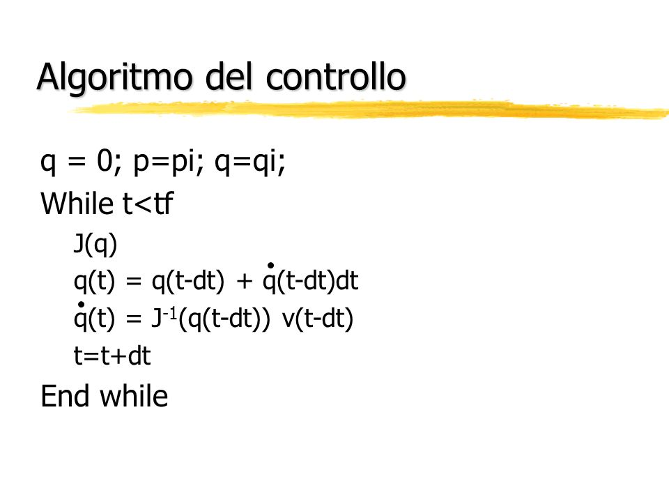 Algoritmo del controllo
