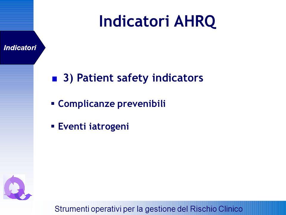 Indicatori AHRQ 3) Patient safety indicators Complicanze prevenibili