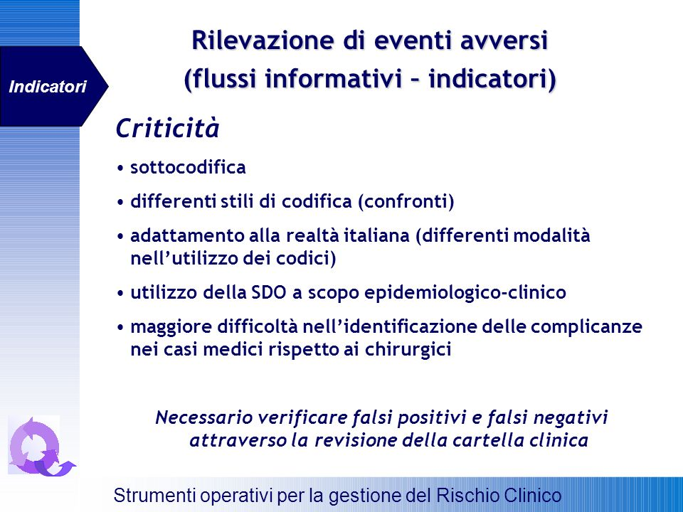 Rilevazione di eventi avversi (flussi informativi – indicatori)