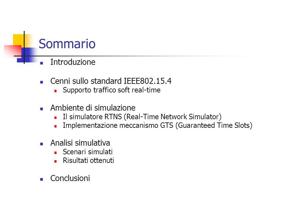 Sommario Introduzione Cenni sullo standard IEEE802.15.4