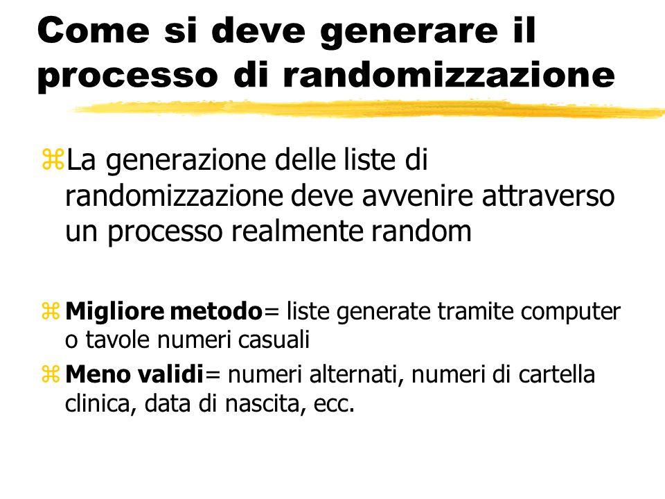 Come si deve generare il processo di randomizzazione