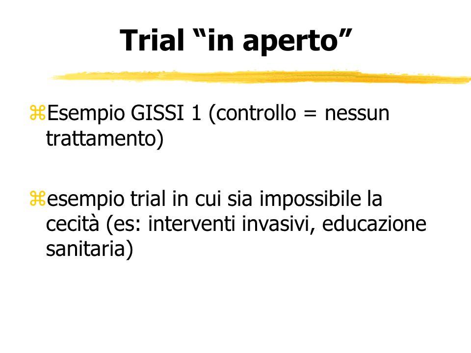 Trial in aperto Esempio GISSI 1 (controllo = nessun trattamento)
