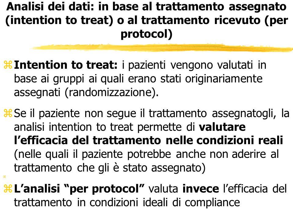 Analisi dei dati: in base al trattamento assegnato (intention to treat) o al trattamento ricevuto (per protocol)