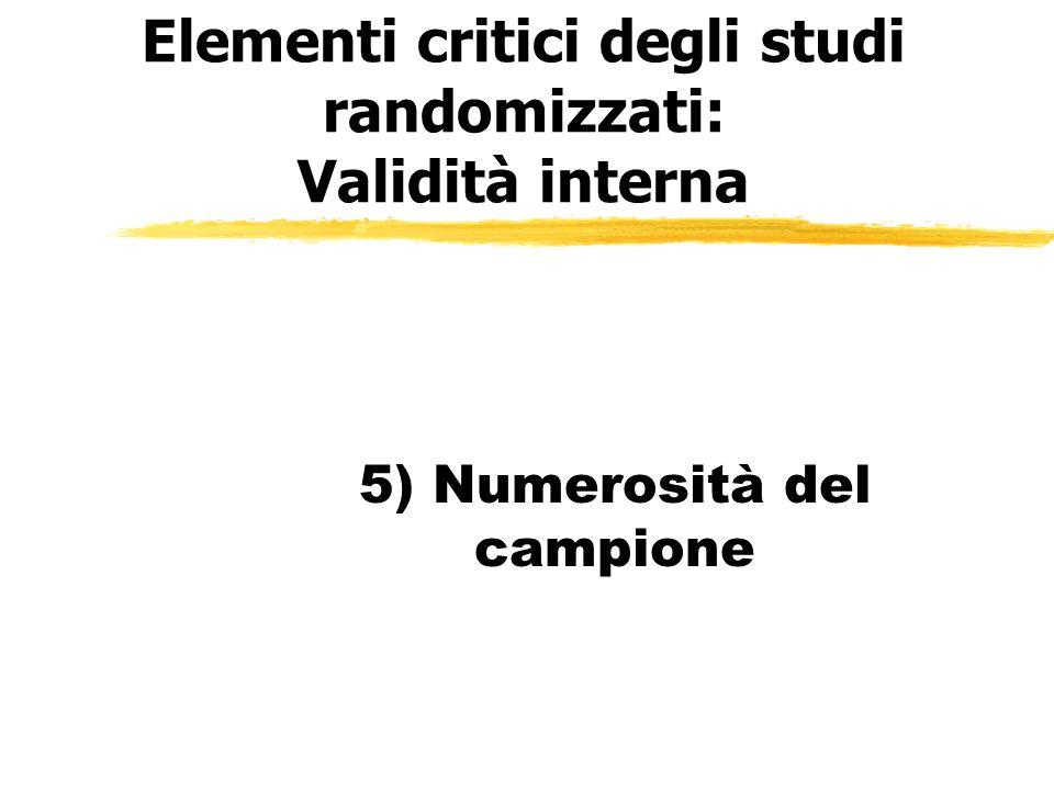 Elementi critici degli studi randomizzati: Validità interna