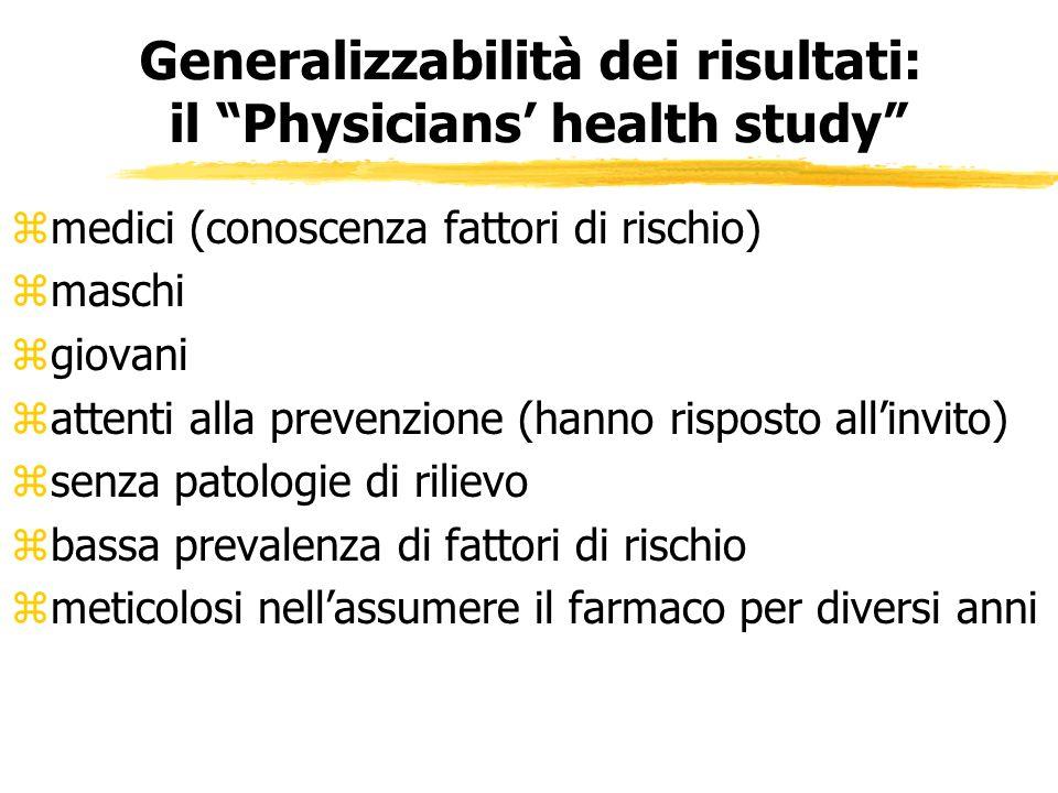 Generalizzabilità dei risultati: il Physicians' health study
