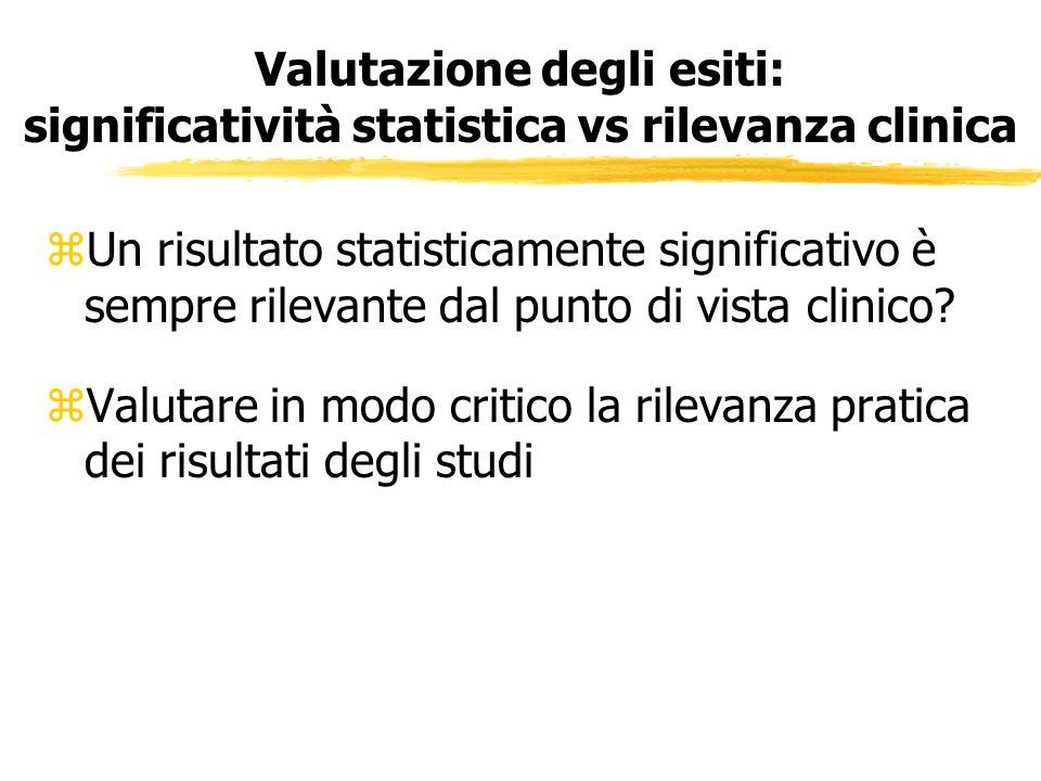 Valutazione degli esiti: significatività statistica vs rilevanza clinica