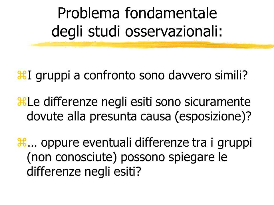 Problema fondamentale degli studi osservazionali: