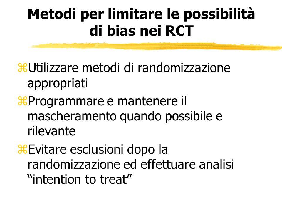 Metodi per limitare le possibilità di bias nei RCT