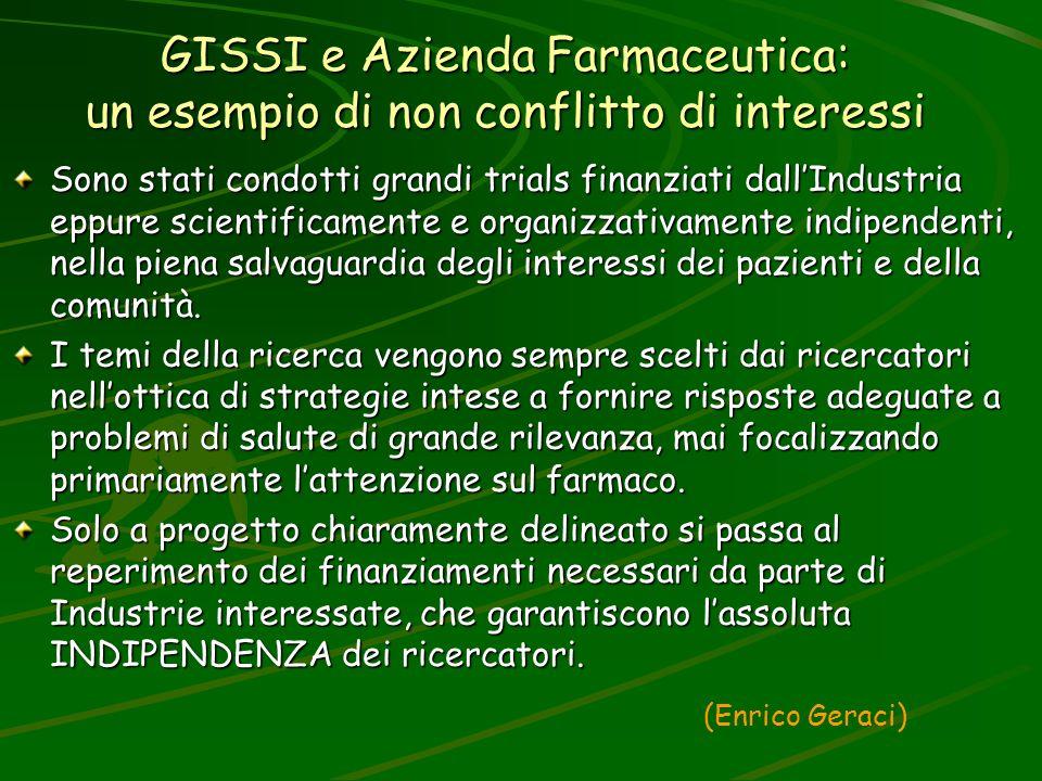 GISSI e Azienda Farmaceutica: un esempio di non conflitto di interessi