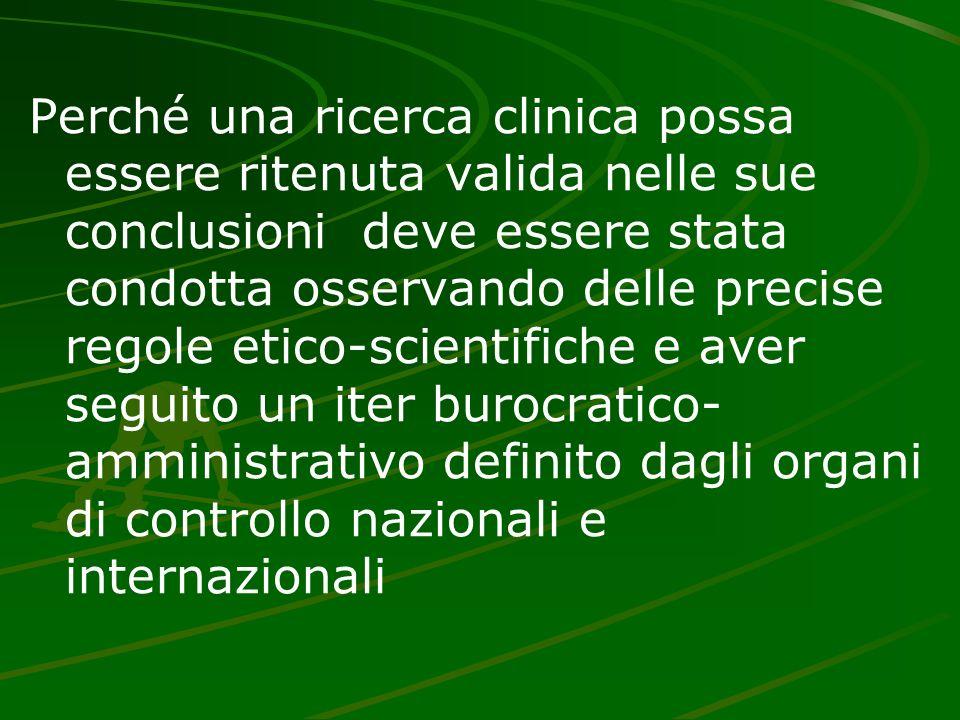 Perché una ricerca clinica possa essere ritenuta valida nelle sue conclusioni deve essere stata condotta osservando delle precise regole etico-scientifiche e aver seguito un iter burocratico- amministrativo definito dagli organi di controllo nazionali e internazionali