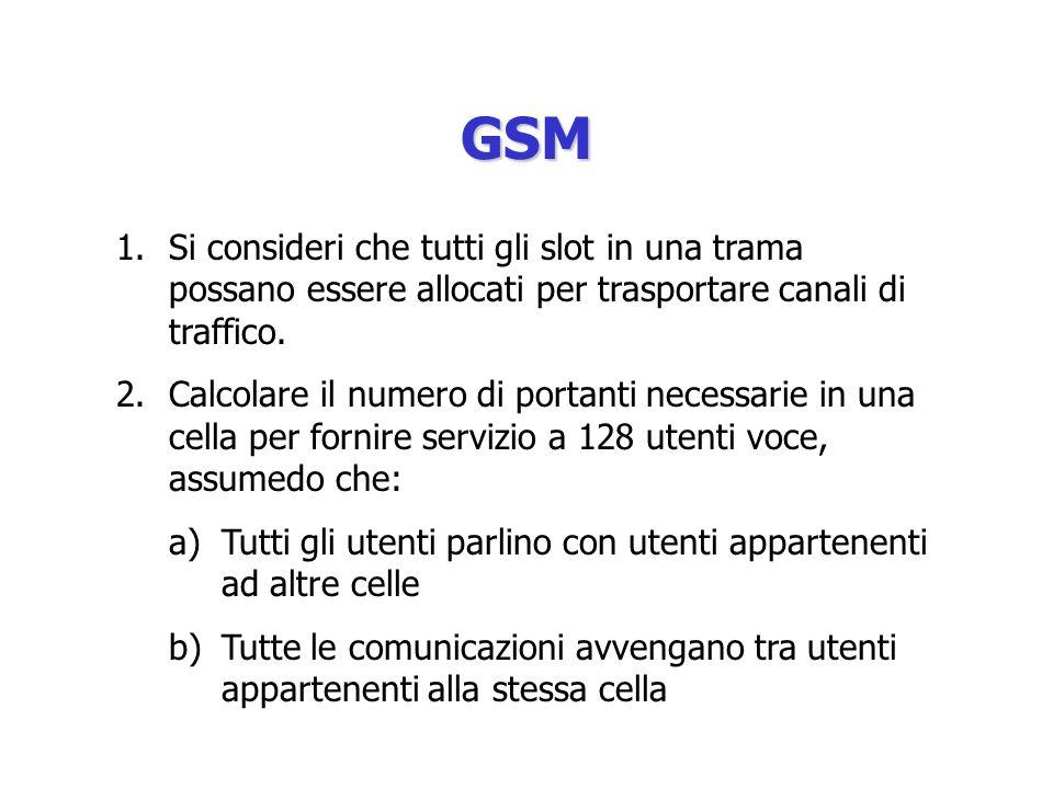 GSM Si consideri che tutti gli slot in una trama possano essere allocati per trasportare canali di traffico.