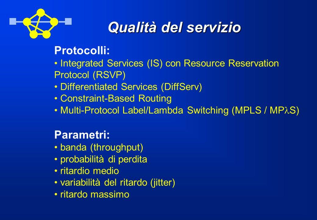Qualità del servizio Protocolli: Parametri: