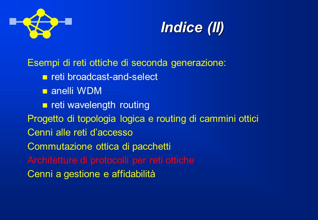 Indice (II) Esempi di reti ottiche di seconda generazione: