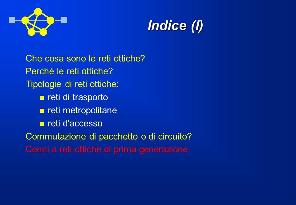 Indice (I) Che cosa sono le reti ottiche Perché le reti ottiche
