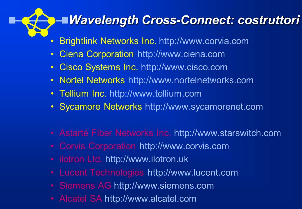 Wavelength Cross-Connect: costruttori
