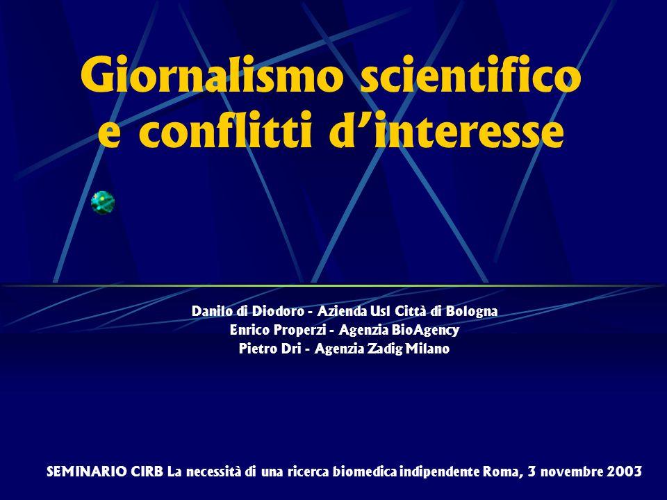 Giornalismo scientifico e conflitti d'interesse