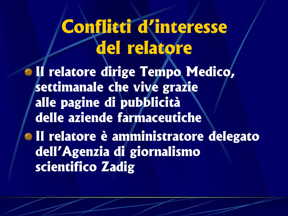 Conflitti d'interesse del relatore