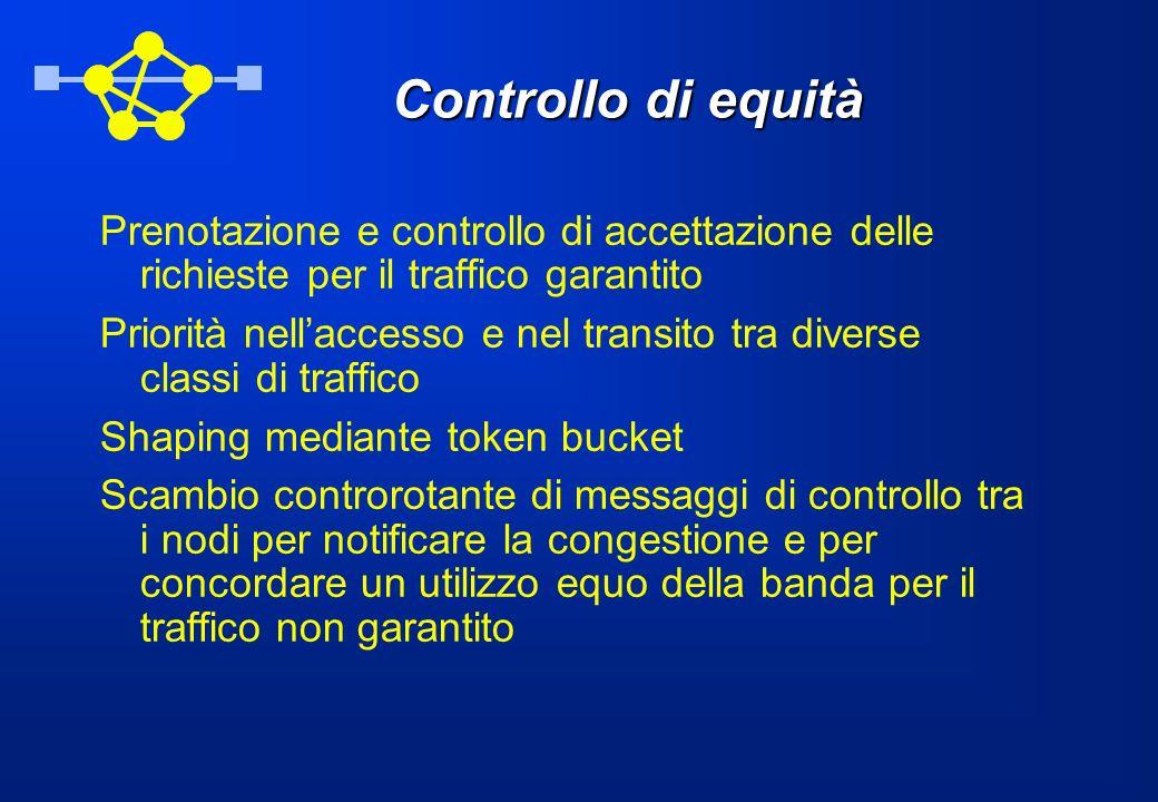 Controllo di equità Prenotazione e controllo di accettazione delle richieste per il traffico garantito.