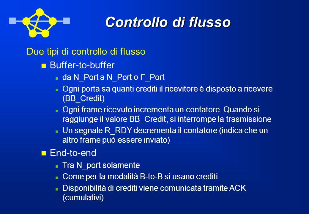 Controllo di flusso Due tipi di controllo di flusso Buffer-to-buffer