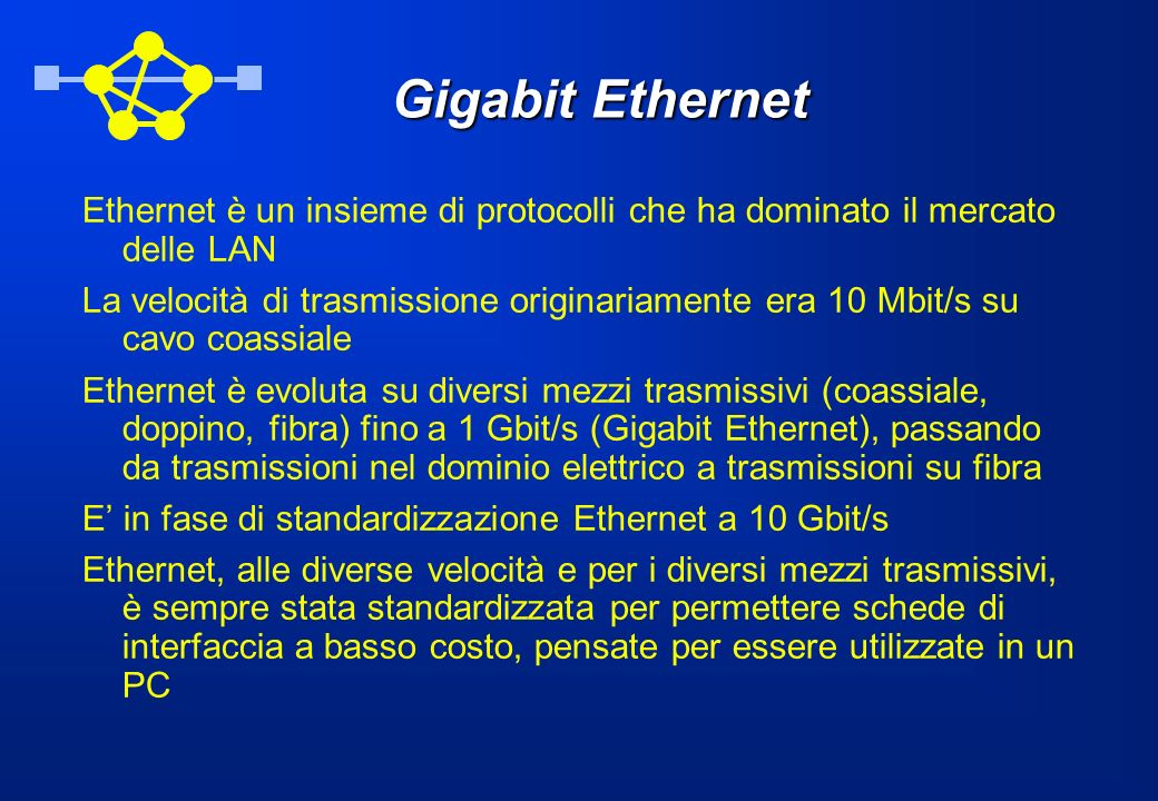 Gigabit EthernetEthernet è un insieme di protocolli che ha dominato il mercato delle LAN.