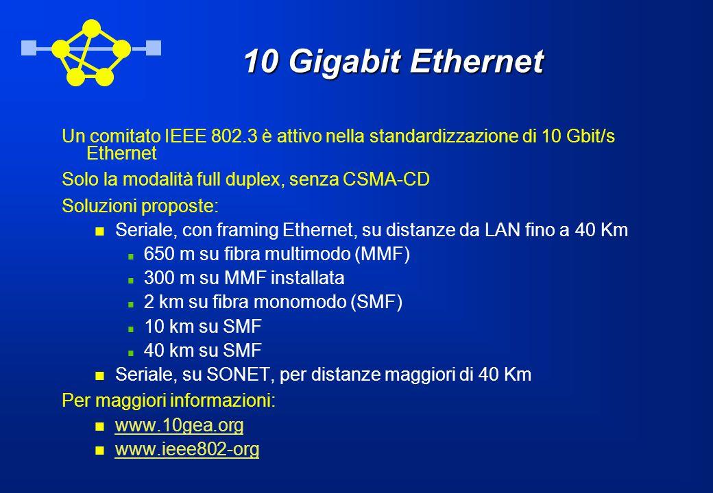 10 Gigabit Ethernet Un comitato IEEE 802.3 è attivo nella standardizzazione di 10 Gbit/s Ethernet. Solo la modalità full duplex, senza CSMA-CD.